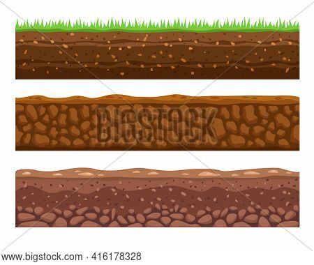 Seamless Grounds Or Soils Vector Illustrations Set. Cartoon Collection Of Soil Layers, Earth Or Dirt