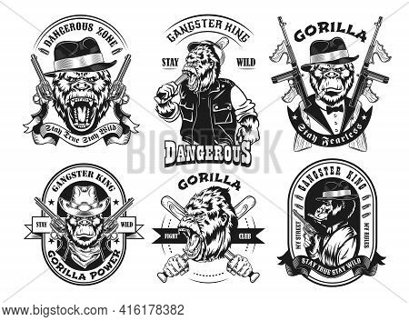 Monochrome Labels With Gorilla Gangster Vector Illustration Set. Retro Tattoo Design With Monkey And