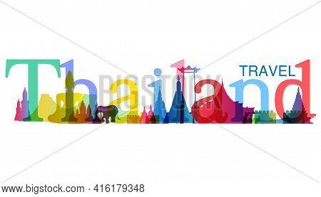 Landmark  Thailand Gradient. Travel Thailand  Text.banner Modern Idea And Concept - Vector