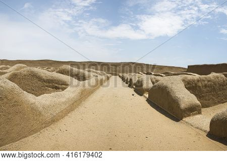 Remains Of The Archeological City Of Chan Chan In Trujillo. Peru. The City Used To Be The Capital Of