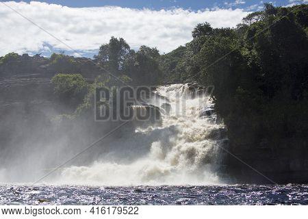 Beautiful Waterfall In The Canaima Lagoon, Canaima National Park, Venezuela, South America 2015