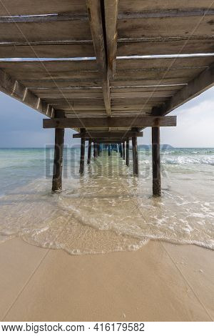 Wooden Pier And Summer Seascape On Koh Rong Island. Landscape Of South East Asia With Wooden Pier An