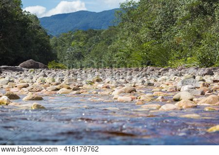 Colored Stones In The  Gauja River In The Canaima National Park In Venzuela.