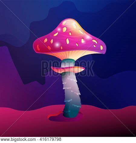 Colorful Fantasy Magic Mushroom Vector Design. Forest Fungus And Unrealistic Uneartly Botany With Lu