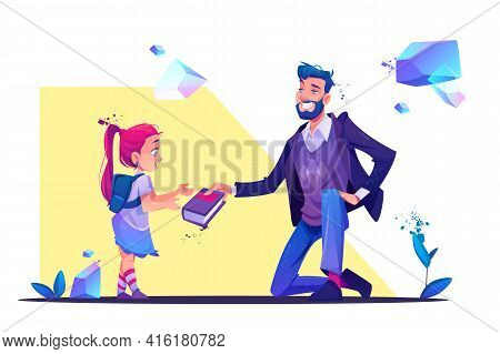 Bearded Smiling Man Wearing Casual Clothes Stand On One Knee Giving Book To Little Girl With Schoolb
