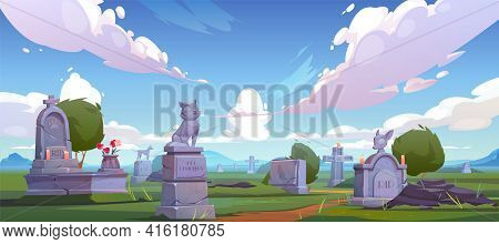 Pet Cemetery, Animal Graveyard With Tombstones, Grave Tombs With Cat And Dog Monuments, Cracked Cros