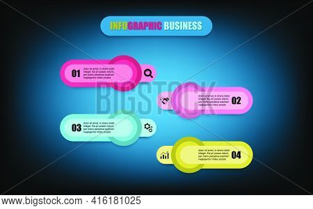 Concept Mix Circular With Square Shapes To Create The Present Four-step Banner. Presentation Busines