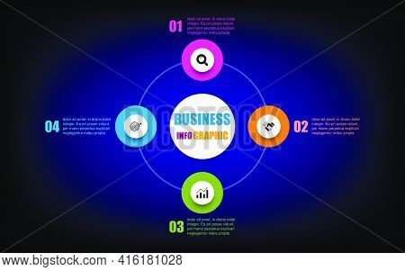 Presentation Business Infographic Template With 4 Options. Circle Design Template Mesh Tool Black, B