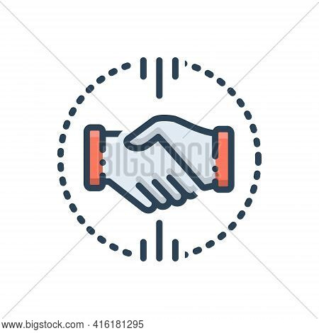 Color Illustration Icon For Acquisitions  Mergers  Acquirer  Partnership Handshake
