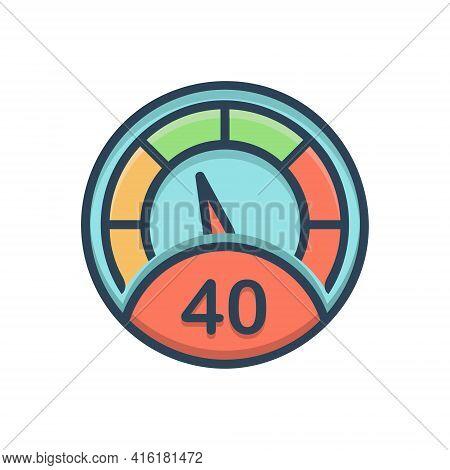 Color Illustration Icon For Meter  Numerator Scale Measurer  Gauge