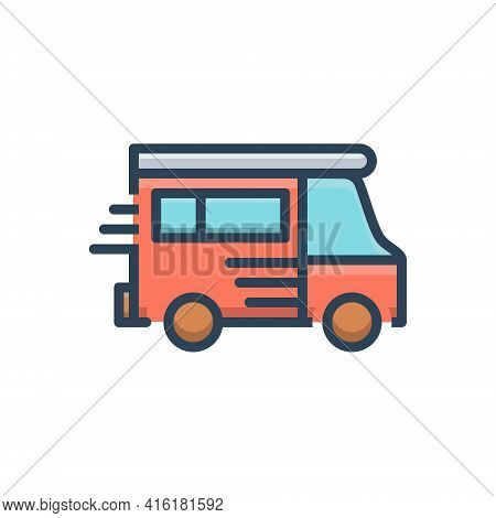Color Illustration Icon For Van Vehicle Conveyance Carriage Motor