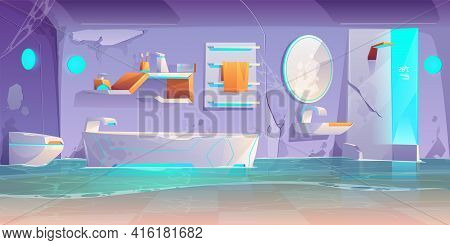 Abandoned Futuristic Bathroom, Flooded Room With Broken Furniture And Stuff, Spiderweb, Cracked Wall