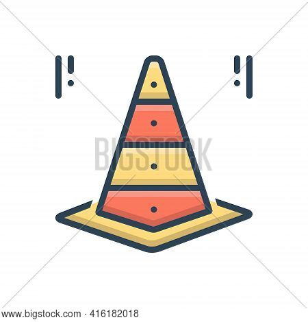 Color Illustration Icon For Cone Taper  Traffic-cone Safety Worke-in-progress