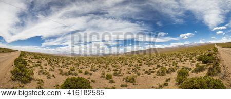 Panorama Of 4x4 Track In Desert In The Mountains Of Eduardo Avaroa Andean Fauna National Reserve Wit