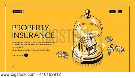 Property Insurance Isometric Landing Page. Real Estate Building Stand Under Glass Dome With Keys And
