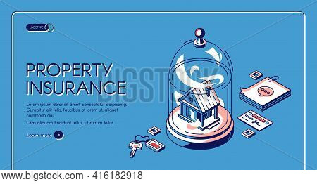 Property Insurance Isometric Landing Page. Real Estate Building Stand Under Glass Dome With Keys, No