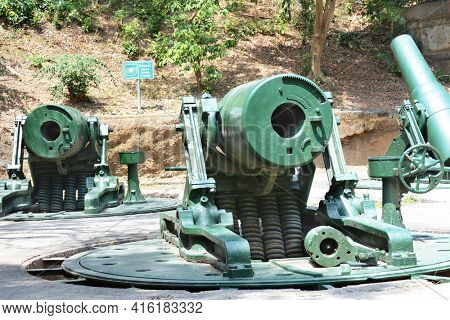 CORREGIDOR, PHILIPPINES - APRIL 3, 2016: Battery Way Mortars. The 305mm mortars were used to defend the island during WWII.