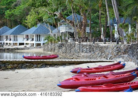 EL NIDO, LAGEN ISLAND, PHILIPPINES - APRIL 5, 2016:  Kayaks at the Lagen Island Resort. The luxury Eco-Sanctuary resort in in Bacuit Bay.