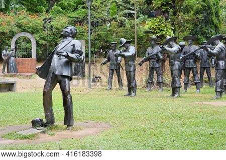 MANILA, PHILIPPINES - APRIL 1, 2016: The martyrdom of Dr. Jose Rizal. The light and sound sculpture diorama is a memorial to the national hero.