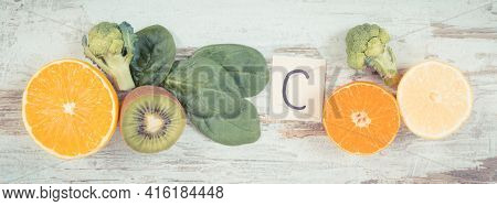 Vintage Photo, Fruits And Vegetables As Sources Of Minerals Containing Vitamin C, Fiber And Minerals