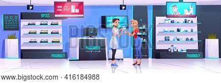 Pharmacist Serves Client In Pharmacy. Vector Drugstore And Optics Shop Interior With Medical Product