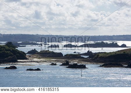 View Of Brehat Island In Brittany With Clouds And Blue Sky, Cotes D'armor In France