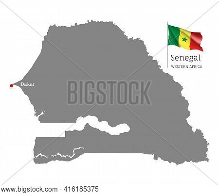 Silhouette Of Senegal Country Map. Gray Editable Map With Waving National Flag And Dakar Capital, We