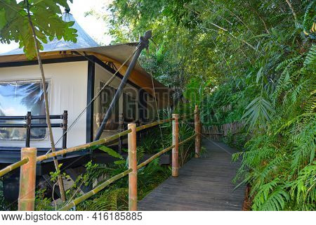 CHIANG RAI, THAILAND - JANUARY 8, 2017: Four Seasons Tented Camp Golden Triangle. A luxury tented camp in Thailand where you can interact with elephants and their trainers.