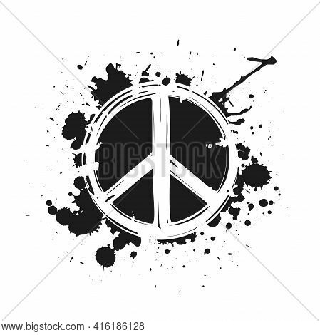Sketchy Peace Label With Ink Or Paint Drops And Blots. Pacifist, Happy, Peace Symbol Drawn By Paint