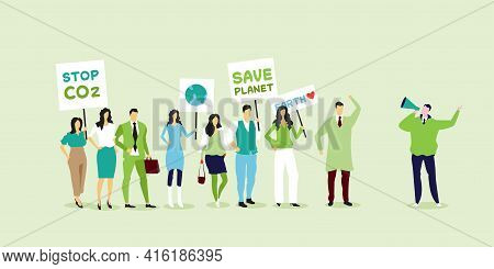 Environmental Activists Holding Posters Go Green Save Planet Strike Concept Protesters Campaigning T