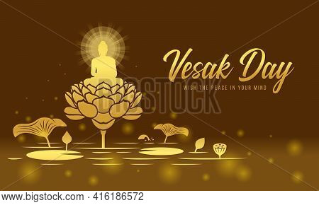 Vesak Day Banner - Gold The Lord Buddha Meditated With Radiance On Big Lotus In River And Brown Ligh