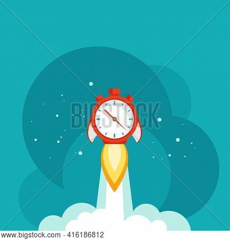 Red Stopwatch Rocket Ship With Fire, Clouds And Stars. Fast Time Stop Watch, Limited Offer, Deadline