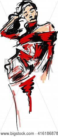 Sketch Portrait Of A Young Girl With Closed Eyes In A Red Dress. Fashion Woman Eps10 Vector Illustra