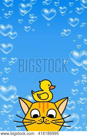 Redhead Cat With Yellow Rubber Duck On Blue