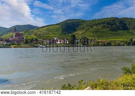 Wachau valley near Durnstein, UNESCO site, landscape with vineyards and Danube river, Austria