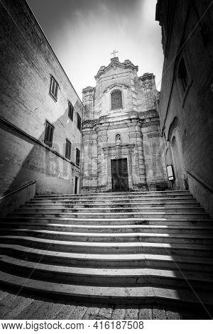 Church Of Saint Lucia Al Piano, Matera. Italy. Ancient Church In The City Of Matera, Southern Italy.