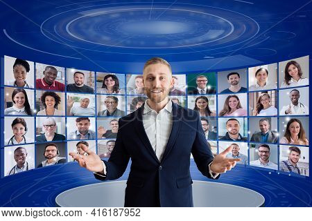 Virtual Event Conference Or Convention. Online Speaker Seminar