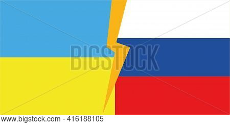 State Flags Of The Countries Of Ukraine And Russia.