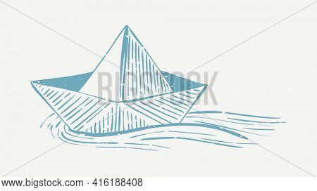 Muted blue sailboat linocut in cute illustration