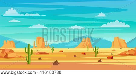 Desert Landscape. Cactus Plants And Rocks On The Sands. Natural Background. Landscape Arizona Or Mex