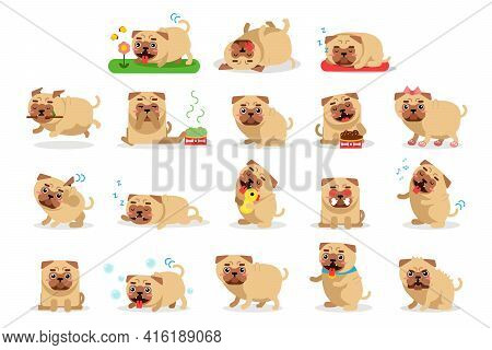 Cute Pug Hanging Out Tongue, Sleeping And Scratching Head With Paw Vector Set