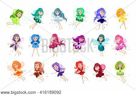 Cute Fairies Or Pixies In Pretty Dresses Flying Vector Illustration Set