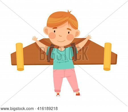 Excited Boy With Improvised Fake Wings Pretending Flying Standing And Waving Hand Vector Illustratio