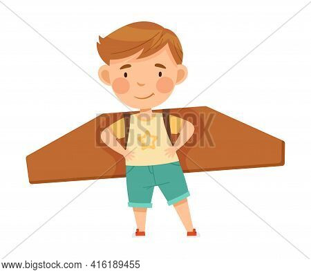 Playful Boy With Improvised Fake Wings Flying And Playing Vector Illustration