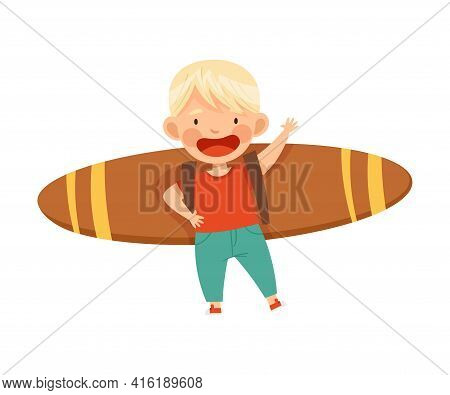 Playful Blond Boy With Improvised Fake Wings Flying And Waving Hand Vector Illustration