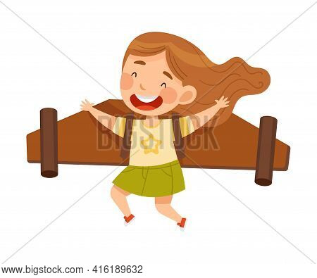 Playful Girl With Improvised Fake Wings Flying And Playing Vector Illustration