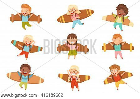 Cheerful Kids With Improvised Fake Wings Flying And Playing Vector Set