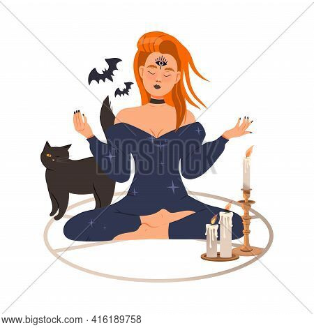 Redhead Woman As Fortune Teller Or Psychic Sitting Cross Legged In Circle Predicting Future Or Perfo