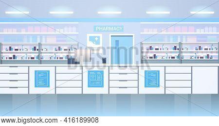 Medicines Arranged In Shelves Empty No People Pharmacy Modern Drugstore Interior Horizontal