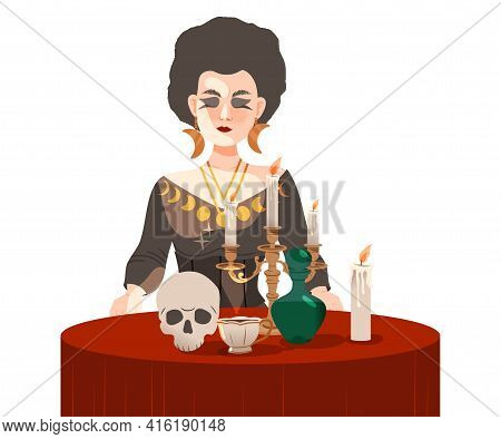 Woman As Fortune Teller Or Psychic At Table With Candle And Skull Predicting Future Or Performing Oc